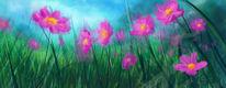 Wiese, Blumen, Pink, Malerei