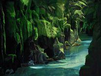 Grün, Wasser, Fluss, Malerei