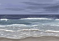 Meer, Welle, Horizont, Malerei