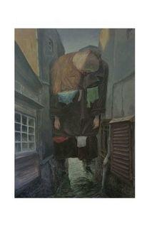 Häuserschlucht, Surreal, Malerei,