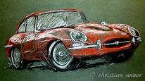 Jaguar, Pastellzeichnungen, Zeichnungen, Oldtimer
