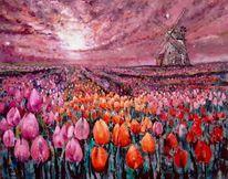 Malerei, Mühle, Herbst, Tulpen