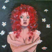 Portrait, Frau, Rot, Acrylmalerei