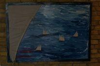 Ölmalerei, Mit originalsegel abgedeckt, Schiffe aus segeltuch, Malerei