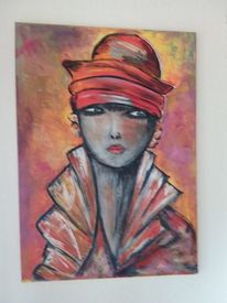 Abstrakt, Rot, Frau, Acrylmalerei
