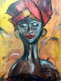 Acrylmalerei, Frau, Turban, Afrika