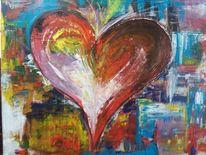 Herz, Bunt, Acrylmalerei, Abstrakt