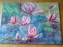 Malerei, Natur, Blumen, Magnolien