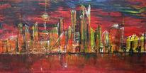 Malerei, Landschaft, Skyline