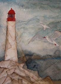 Möwe, Meer, Felsen, Leuchtturm