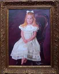 Malerei, Hübsches junges mädchen, Portrait