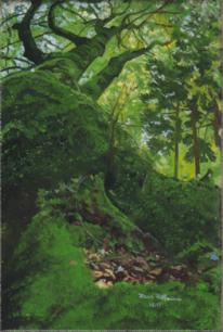 Ruhige waldszene, Sonne und schatten, Natur pur, Malerei