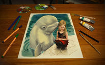 Delfin, 3d drawing, Little girl, Illusion