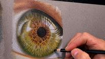 Auge zeichnen, Iris auge, Nahaufnahme, Impressionismus