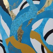 Ölmalerei, Weiß, Gold, Türkis
