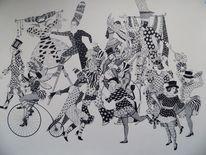 Tuschmalerei, Grafik, Maske, Zeichnungen