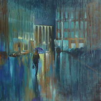 Architektur, Straße, Malen, Malerei