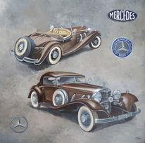 Gemälde, Ölmalerei, Auto, Mercedes