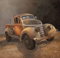 Auto, Ölmalerei, Gemälde, Oldtimer