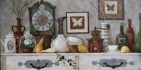 Wandmalerei, Weiß, Stillleben, Abstrakt