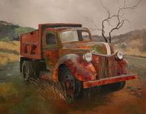 Malerei, Oldtimer, Auto, Ölmalerei