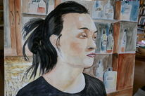 Aquarellmalerei, Portrait, Mann, Bar