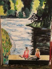 Frau, Natur, Landschaft, Flusslandschaft