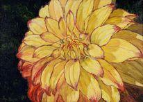 Leinen, Ölmalerei, Dahlien, Malerei
