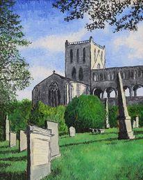 Kirche, Leinen, Friedhof, Malerei