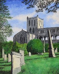 Kirche, Ölmalerei, Leinen, Friedhof