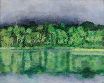 See, Wald, Landschaft, Ölmalerei
