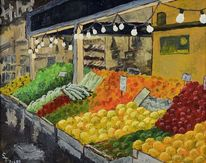 Laden, Ölmalerei, Leinen, Markt