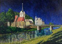 Ölmalerei, Kirche, Leinen, Fluss