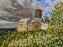 Landschaft, Burg, Leinen, Ölmalerei