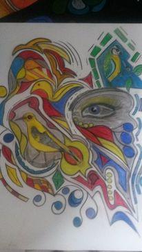 Abstrakt, Bunt, Vögel, Fantasie