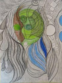 Malerei, Blau, Grau, Grün