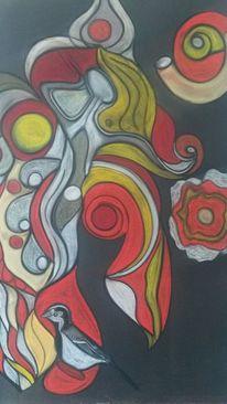 Rund, Vogel, Blumen, Abstrakt