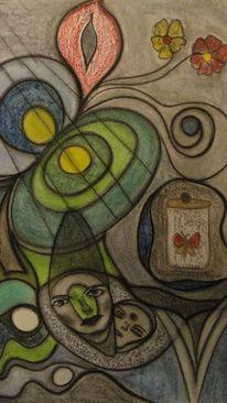 Malerei, Schmetterling, Glas