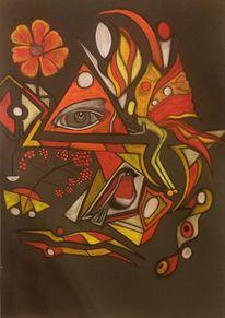 Fantasie, Abstrakt, Vogel, Blüte
