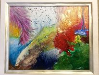 Acrylmalerei, Leinen, Farben, Abstrakt
