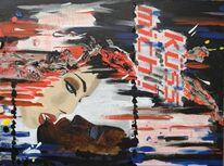 Malerei, Kuss, Acrylmalerei, Frau