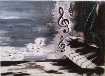 Malerei, Acrylmalerei, Musik, Mischtechnik