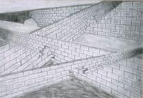 Bleistiftzeichnung, Dunkel, Mauer, Ausweg