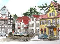 Stadt, Häuser, Dorf, Straße