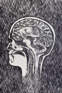 Tuschmalerei, Gehirn, Gelstift, Mrt