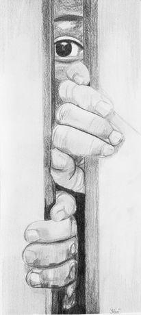 Zeichnung, Bleistiftzeichnung, Zeichnungen, Angst