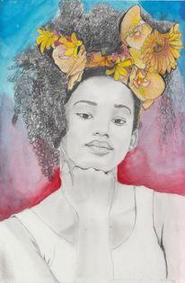Portrait, Bleistiftzeichnung, Polychromos, Aquarellmalerei