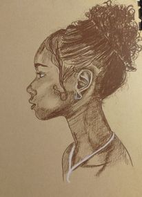 Portrait, Kraftpapier, Pastellmalerei, Zeichnungen
