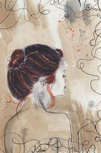 Portrait, Tinte, Bleistiftzeichnung, Aquarellmalerei