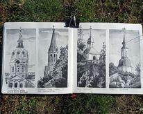 Zeichnung, Emmaus ölberg kirche, Burg, Urban sketching
